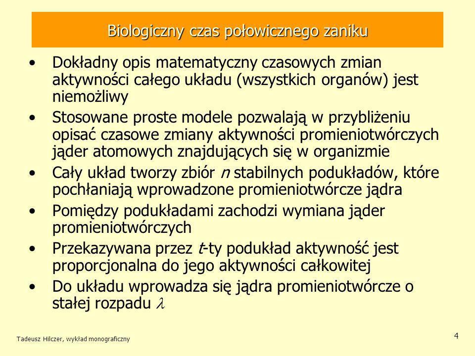 Tadeusz Hilczer, wykład monograficzny 15 Prędkość zmiany aktywności układu Prędkość zmian aktywności wydzielonej Prędkość zmian aktywności trwale przyswojonej.