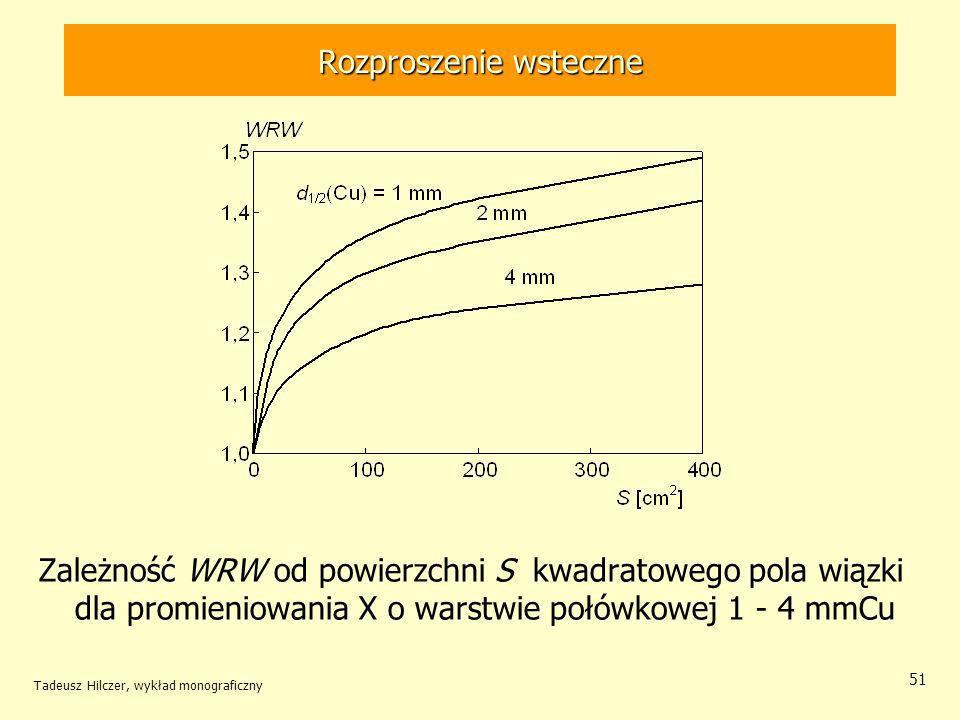 Tadeusz Hilczer, wykład monograficzny 51 Rozproszenie wsteczne Zależność WRW od powierzchni S kwadratowego pola wiązki dla promieniowania X o warstwie połówkowej 1 - 4 mmCu