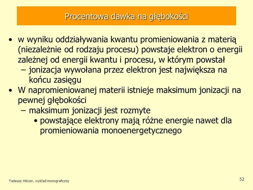 Tadeusz Hilczer, wykład monograficzny 52 w wyniku oddziaływania kwantu promieniowania z materią (niezależnie od rodzaju procesu) powstaje elektron o energii zależnej od energii kwantu i procesu, w którym powstał –jonizacja wywołana przez elektron jest największa na końcu zasięgu W napromieniowanej materii istnieje maksimum jonizacji na pewnej głębokości –maksimum jonizacji jest rozmyte powstające elektrony mają różne energie nawet dla promieniowania monoenergetycznego Procentowa dawka na głębokości