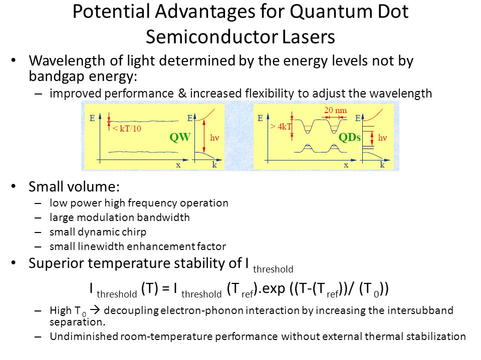 Potential Advantages for Quantum Dot Semiconductor Lasers Wavelength of light determined by the energy levels not by bandgap energy: – improved perfor