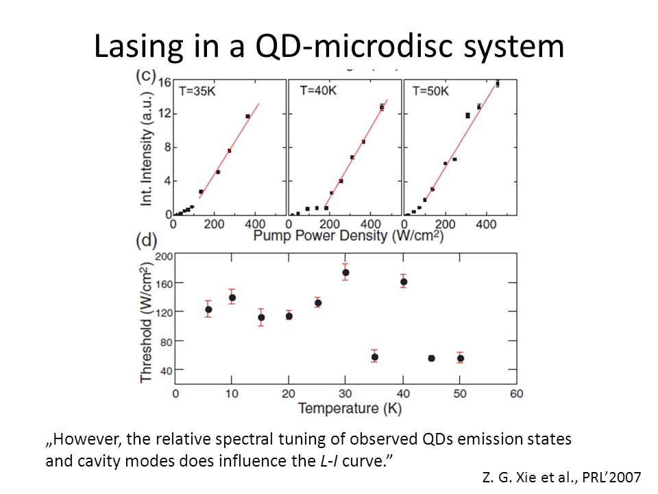 Lasing in a QD-microdisc system However, the relative spectral tuning of observed QDs emission states and cavity modes does influence the L-I curve. Z