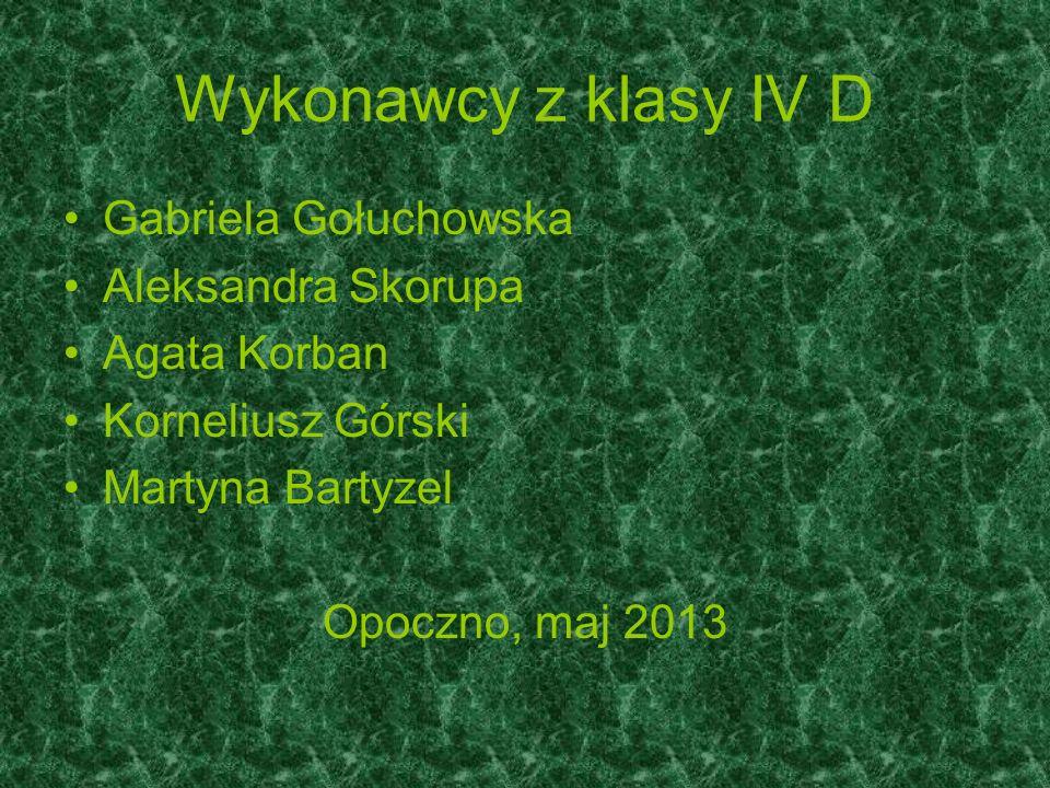 Wykonawcy z klasy IV D Gabriela Gołuchowska Aleksandra Skorupa Agata Korban Korneliusz Górski Martyna Bartyzel Opoczno, maj 2013