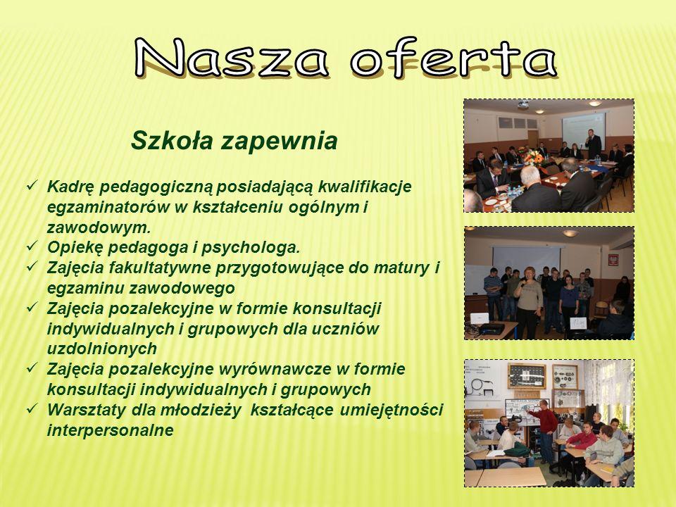 Szkoła zapewnia Kadrę pedagogiczną posiadającą kwalifikacje egzaminatorów w kształceniu ogólnym i zawodowym.