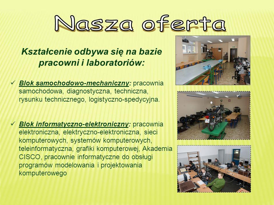 Kształcenie odbywa się na bazie pracowni i laboratoriów: Blok samochodowo-mechaniczny: pracownia samochodowa, diagnostyczna, techniczna, rysunku technicznego, logistyczno-spedycyjna.