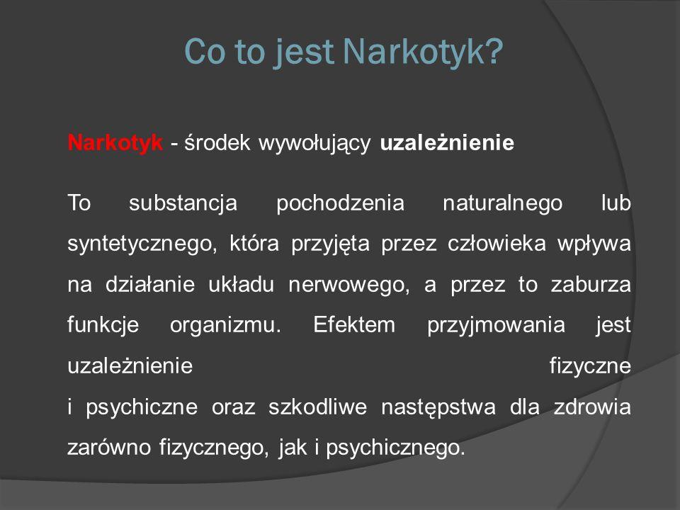 Co to jest Narkotyk? Narkotyk - środek wywołujący uzależnienie To substancja pochodzenia naturalnego lub syntetycznego, która przyjęta przez człowieka