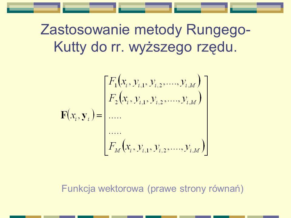 Zastosowanie metody Rungego- Kutty do rr. wyższego rzędu. Funkcja wektorowa (prawe strony równań)