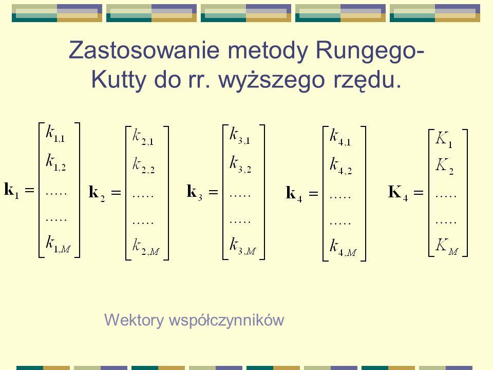 Zastosowanie metody Rungego- Kutty do rr. wyższego rzędu. Wektory współczynników