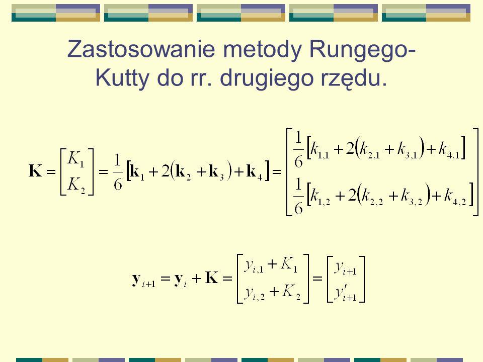 Zastosowanie metody Rungego- Kutty do rr. drugiego rzędu.