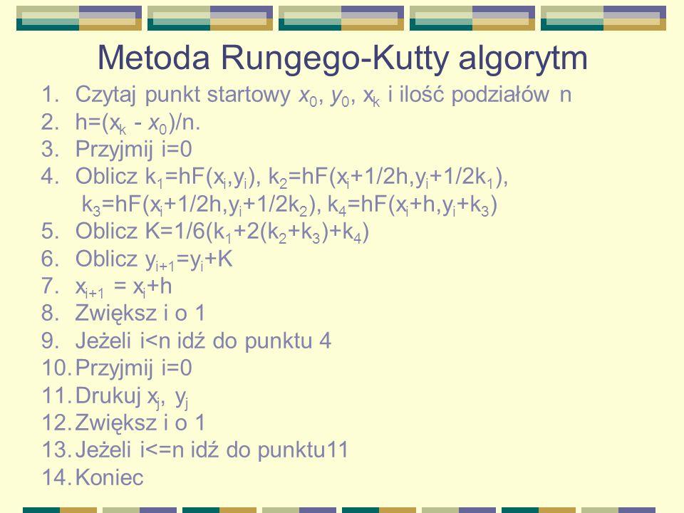 Metoda Rungego-Kutty algorytm 1.Czytaj punkt startowy x 0, y 0, x k i ilość podziałów n 2.h=(x k - x 0 )/n. 3.Przyjmij i=0 4.Oblicz k 1 =hF(x i,y i ),