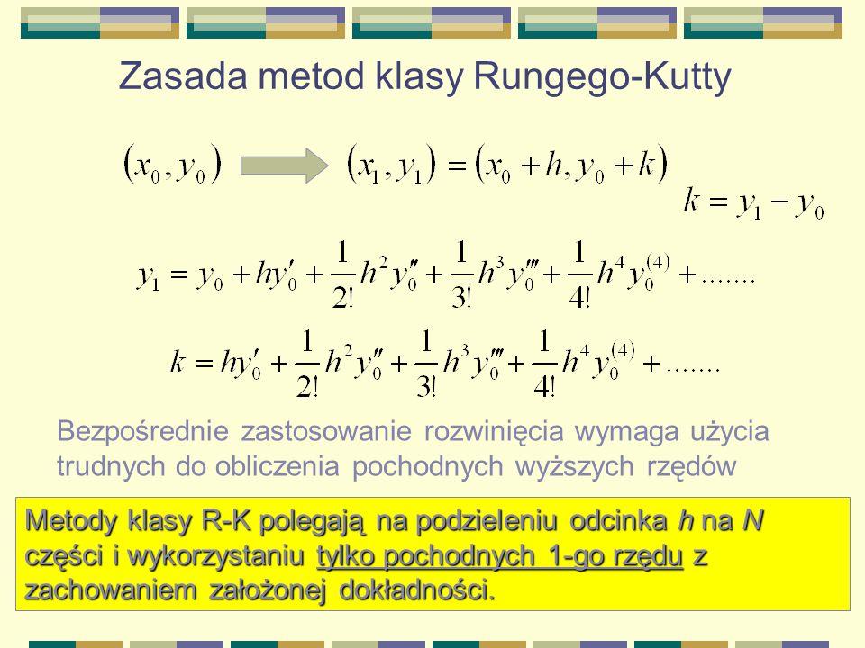 Zasada metod klasy Rungego-Kutty Metody klasy R-K polegają na podzieleniu odcinka h na N części i wykorzystaniu tylko pochodnych 1-go rzędu z zachowan
