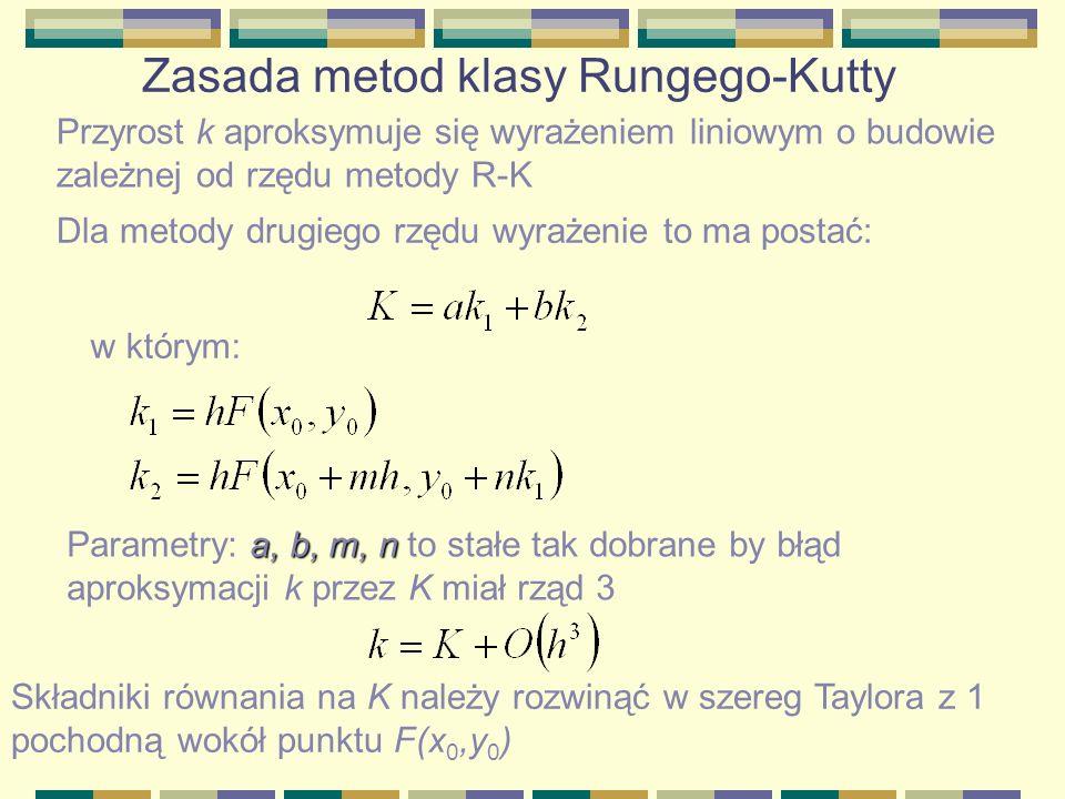 Zasada metod klasy Rungego-Kutty Przyrost k aproksymuje się wyrażeniem liniowym o budowie zależnej od rzędu metody R-K Dla metody drugiego rzędu wyraż