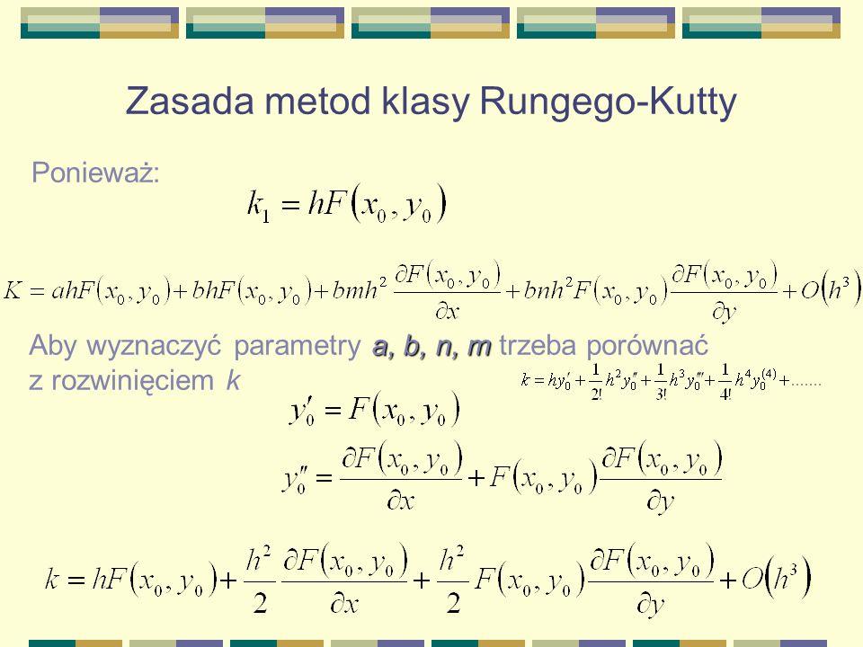 Zasada metod klasy Rungego-Kutty Ponieważ: a, b, n, m Aby wyznaczyć parametry a, b, n, m trzeba porównać z rozwinięciem k