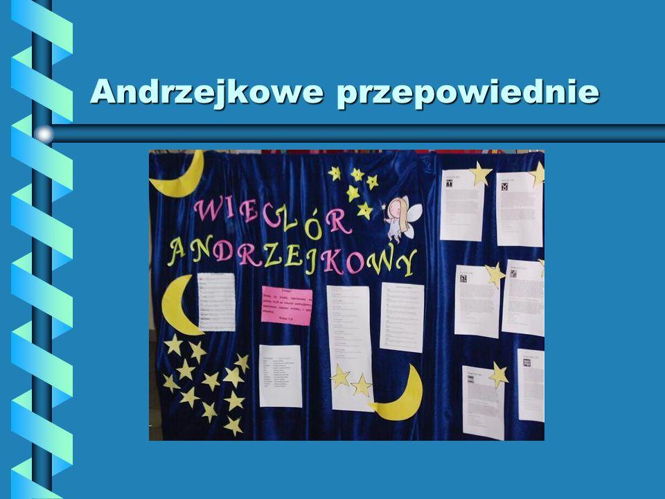 Andrzejkowe przepowiednie 28 listopada w przeddzień andrzejkowego święta odbył się w naszej szkole wieczór wróżb. Samorząd Uczniowski wraz ze Świetlic