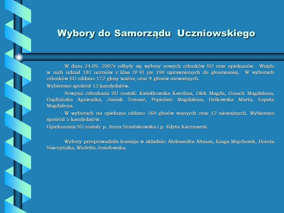 Nasze działania w roku szkolnym 2007/2008 Samorząd Uczniowski