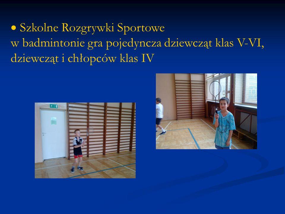 Szkolne Rozgrywki Sportowe w badmintonie gra pojedyncza dziewcząt klas V-VI, dziewcząt i chłopców klas IV