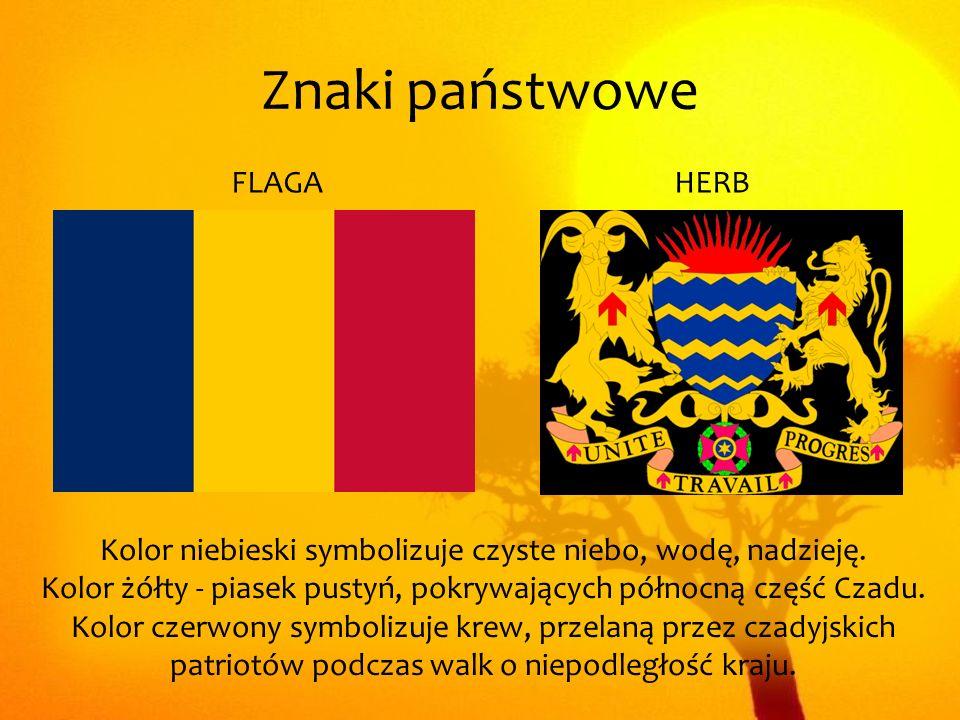 Znaki państwowe Kolor niebieski symbolizuje czyste niebo, wodę, nadzieję. Kolor żółty - piasek pustyń, pokrywających północną część Czadu. Kolor czerw
