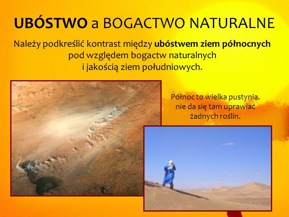 UBÓSTWO a BOGACTWO NATURALNE Należy podkreślić kontrast między ubóstwem ziem północnych pod względem bogactw naturalnych i jakością ziem południowych.