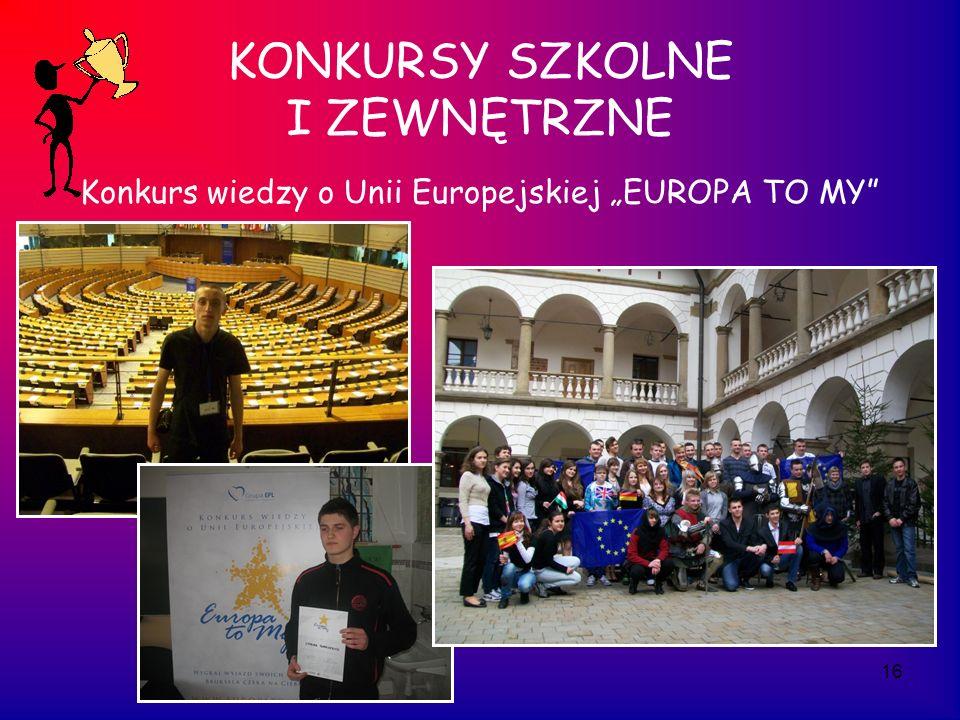 16 KONKURSY SZKOLNE I ZEWNĘTRZNE Konkurs wiedzy o Unii Europejskiej EUROPA TO MY