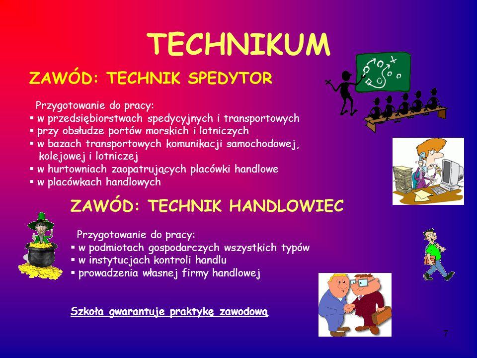 7 TECHNIKUM ZAWÓD: TECHNIK HANDLOWIEC Przygotowanie do pracy: w podmiotach gospodarczych wszystkich typów w instytucjach kontroli handlu prowadzenia w