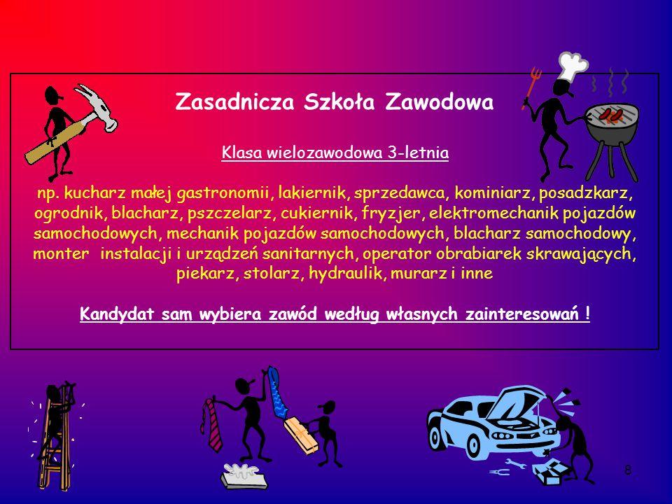 9 Projekty unijne realizowane w zasadniczej szkole zawodowej i technikum Modernizacja kształcenia zawodowego w Małopolsce 2009-2014 zajęcia wyrównawcze lub rozwijające z przedmiotów matematyczno-przyrodniczych i/lub języków obcych kursy branżowe, np.: kurs prawa jazdy kat.