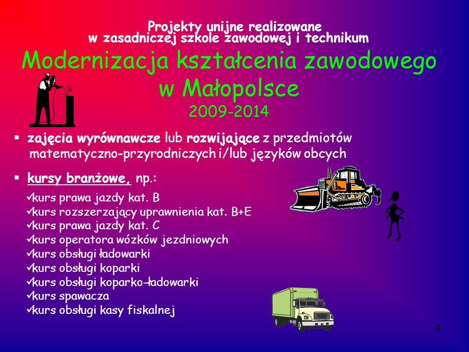 9 Projekty unijne realizowane w zasadniczej szkole zawodowej i technikum Modernizacja kształcenia zawodowego w Małopolsce 2009-2014 zajęcia wyrównawcz