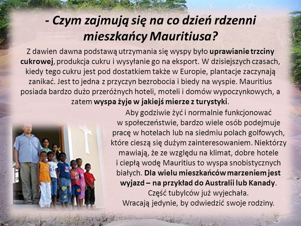 - Czym zajmują się na co dzień rdzenni mieszkańcy Mauritiusa? Z dawien dawna podstawą utrzymania się wyspy było uprawianie trzciny cukrowej, produkcja