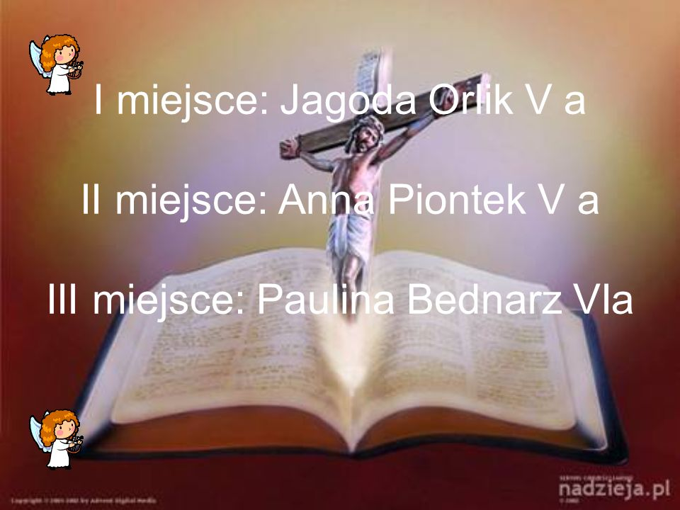 I miejsce: Jagoda Orlik V a II miejsce: Anna Piontek V a III miejsce: Paulina Bednarz VIa
