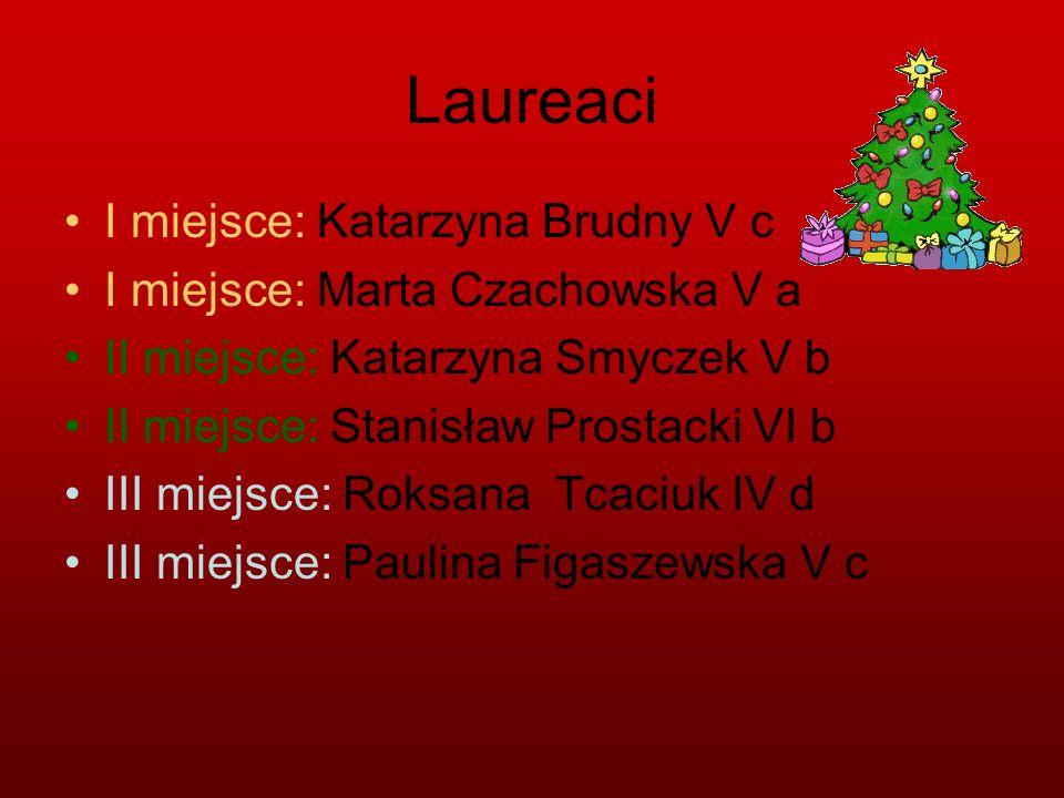 Laureaci I miejsce: Katarzyna Brudny V c I miejsce: Marta Czachowska V a II miejsce: Katarzyna Smyczek V b II miejsce: Stanisław Prostacki VI b III mi