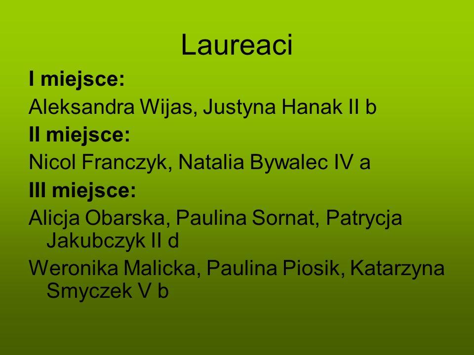 Laureaci I miejsce: Aleksandra Wijas, Justyna Hanak II b II miejsce: Nicol Franczyk, Natalia Bywalec IV a III miejsce: Alicja Obarska, Paulina Sornat,