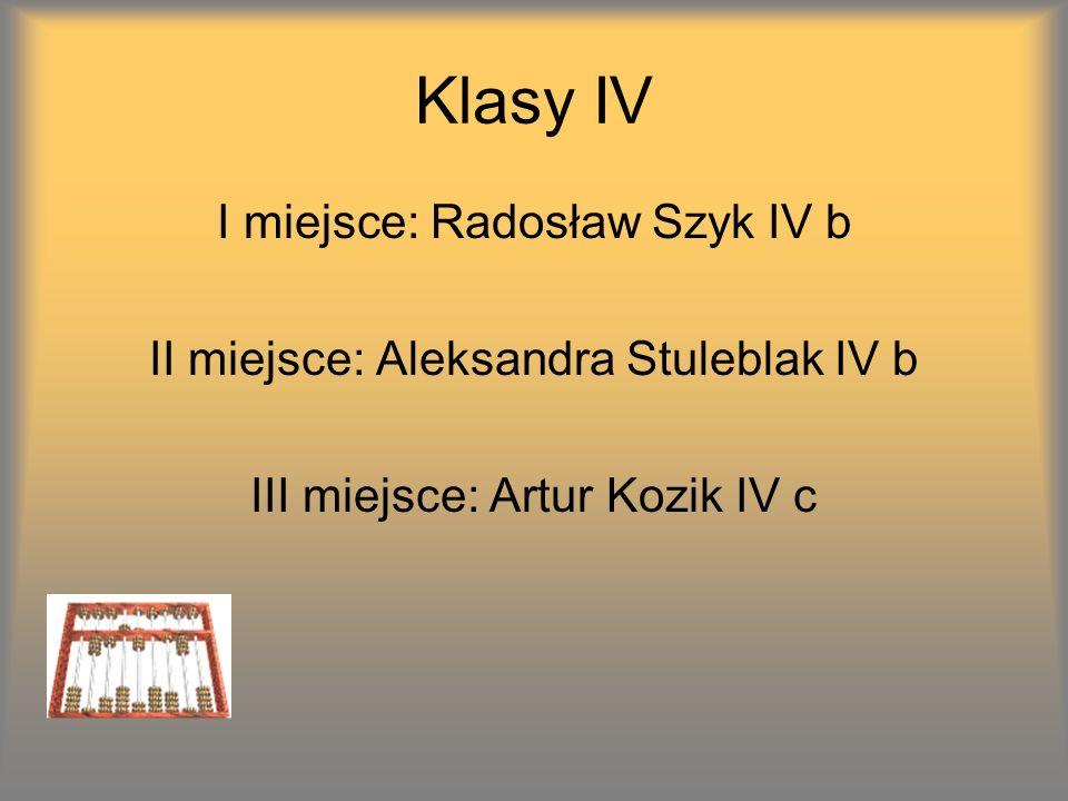 Klasy IV I miejsce: Radosław Szyk IV b II miejsce: Aleksandra Stuleblak IV b III miejsce: Artur Kozik IV c