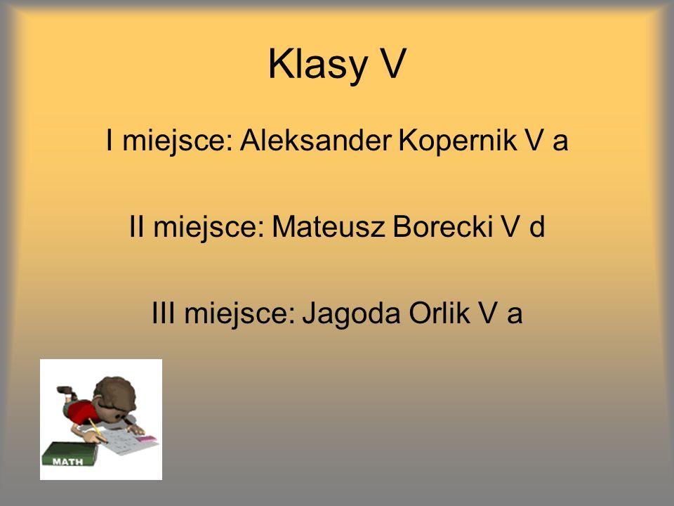 Klasy V I miejsce: Aleksander Kopernik V a II miejsce: Mateusz Borecki V d III miejsce: Jagoda Orlik V a
