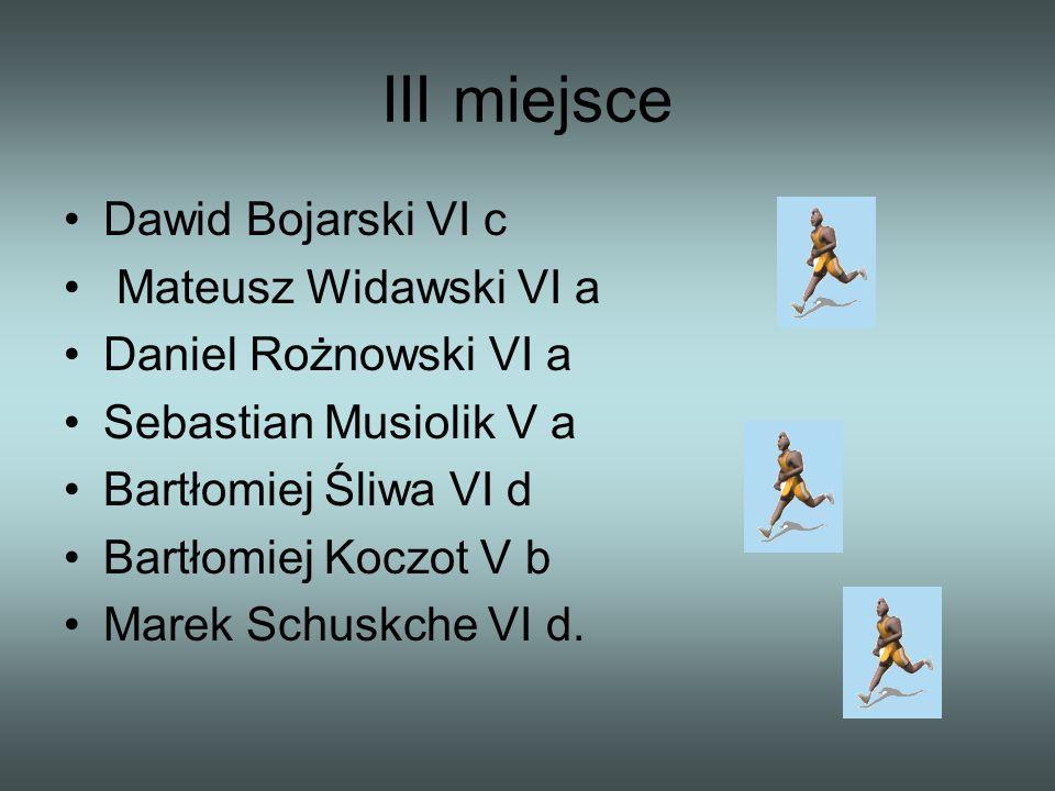 III miejsce Dawid Bojarski VI c Mateusz Widawski VI a Daniel Rożnowski VI a Sebastian Musiolik V a Bartłomiej Śliwa VI d Bartłomiej Koczot V b Marek S