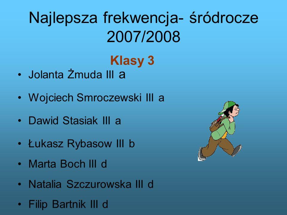 Klasy 3 Najlepsza frekwencja- śródrocze 2007/2008 Jolanta Żmuda III a Wojciech Smroczewski III a Dawid Stasiak III a Łukasz Rybasow III b Marta Boch I