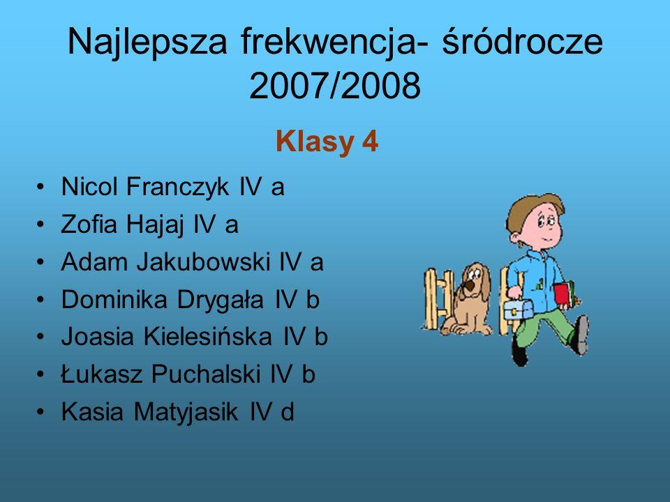 Najlepsza frekwencja- śródrocze 2007/2008 Nicol Franczyk IV a Zofia Hajaj IV a Adam Jakubowski IV a Dominika Drygała IV b Joasia Kielesińska IV b Łuka