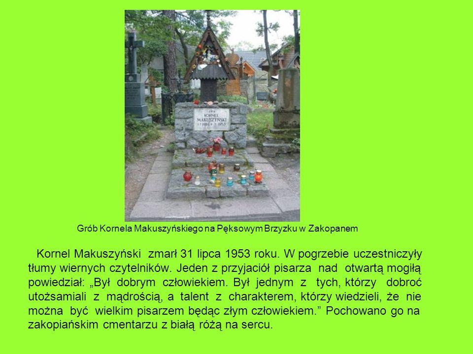 Kornel Makuszyński zmarł 31 lipca 1953 roku. W pogrzebie uczestniczyły tłumy wiernych czytelników. Jeden z przyjaciół pisarza nad otwartą mogiłą powie