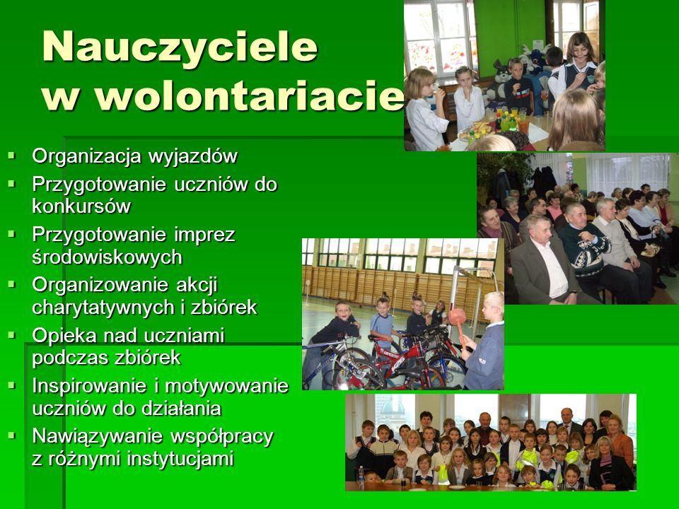 Nauczyciele w wolontariacie Organizacja wyjazdów Organizacja wyjazdów Przygotowanie uczniów do konkursów Przygotowanie uczniów do konkursów Przygotowa