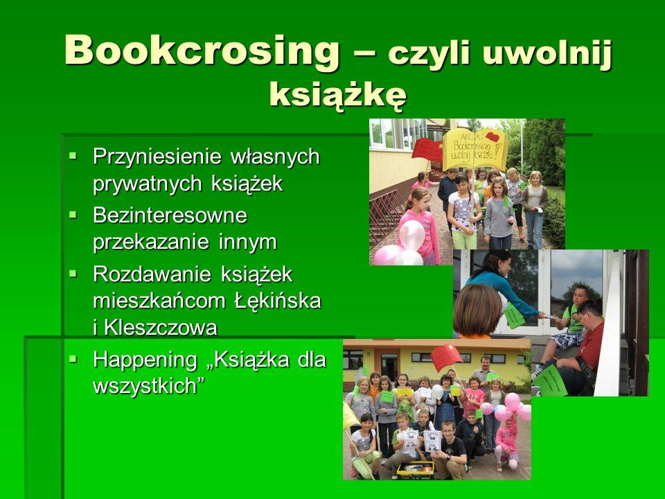 Bookcrosing – czyli uwolnij książkę Przyniesienie własnych prywatnych książek Przyniesienie własnych prywatnych książek Bezinteresowne przekazanie inn