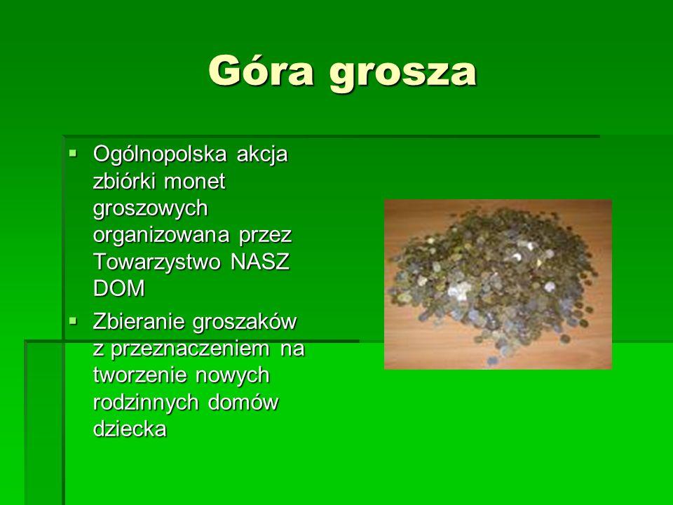 Góra grosza Ogólnopolska akcja zbiórki monet groszowych organizowana przez Towarzystwo NASZ DOM Ogólnopolska akcja zbiórki monet groszowych organizowa