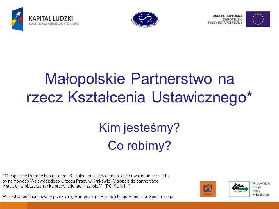 Małopolskie Partnerstwo na rzecz Kształcenia Ustawicznego* Kim jesteśmy.