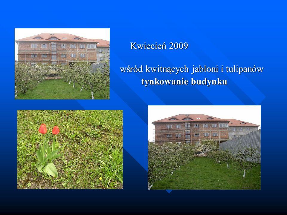 Kwiecień 2009 Kwiecień 2009 wśród kwitnących jabłoni i tulipanów wśród kwitnących jabłoni i tulipanów tynkowanie budynku tynkowanie budynku