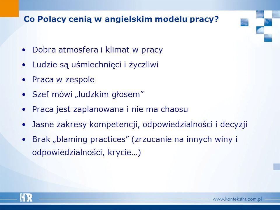 Co Polacy cenią w angielskim modelu pracy? Dobra atmosfera i klimat w pracy Ludzie są uśmiechnięci i życzliwi Praca w zespole Szef mówi ludzkim głosem