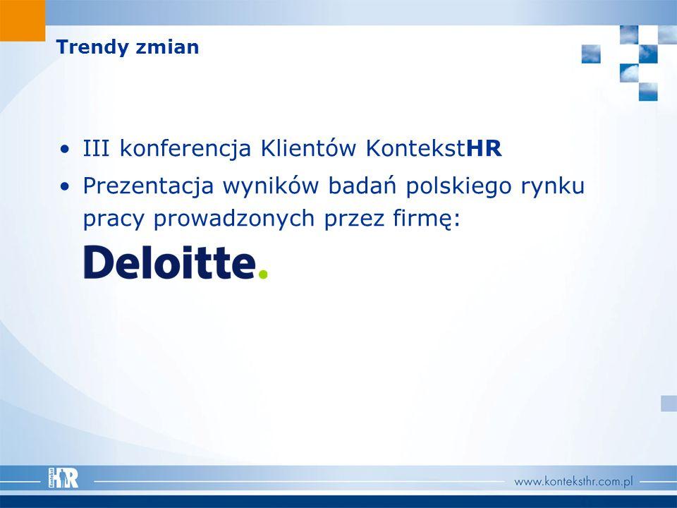 Trendy zmian III konferencja Klientów KontekstHR Prezentacja wyników badań polskiego rynku pracy prowadzonych przez firmę: