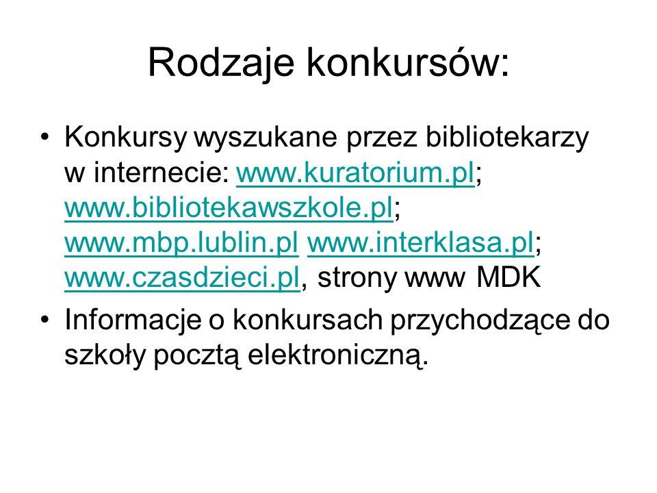 Rodzaje konkursów: Konkursy wyszukane przez bibliotekarzy w internecie: www.kuratorium.pl; www.bibliotekawszkole.pl; www.mbp.lublin.pl www.interklasa.