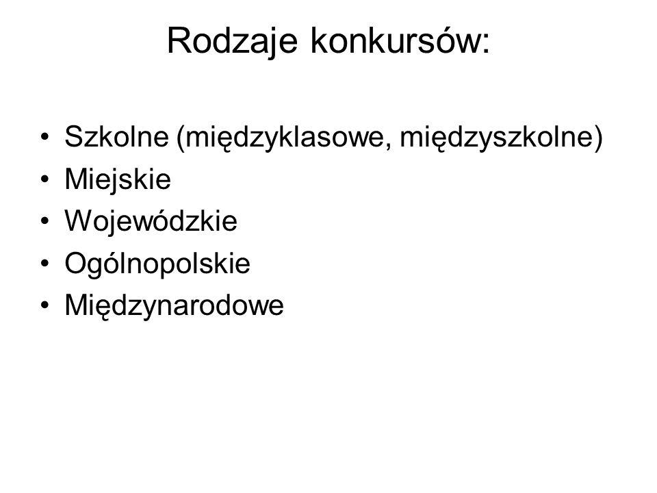 Rodzaje konkursów: Szkolne (międzyklasowe, międzyszkolne) Miejskie Wojewódzkie Ogólnopolskie Międzynarodowe