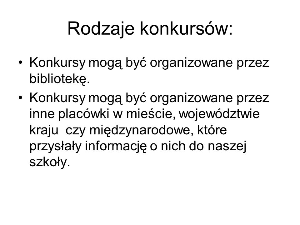 Tytuły konkursów: Miejski konkurs literacko-plastyczny,,Powróćmy do baśni Wojewódzki konkurs prasowo-czytelniczy,,H.Ch.