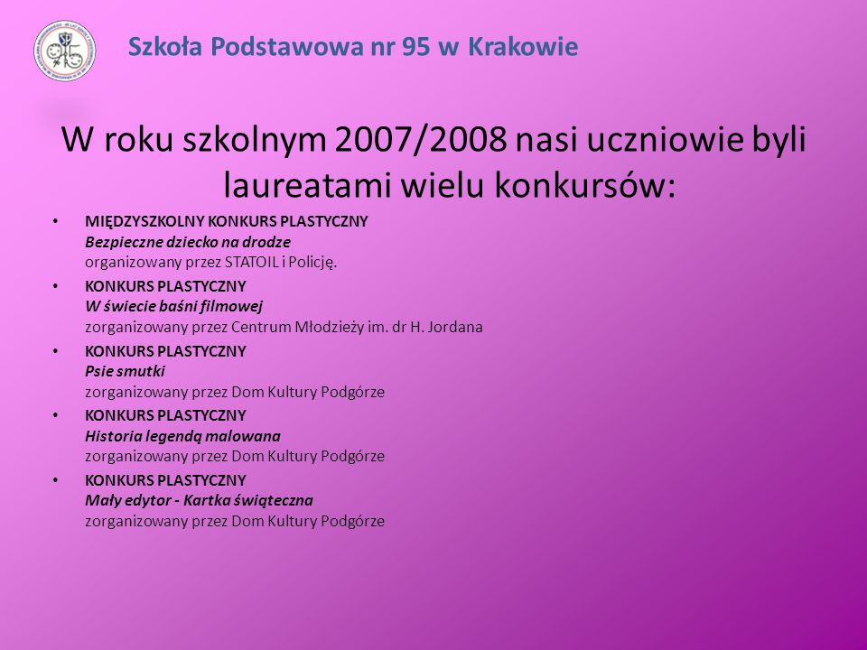 W roku szkolnym 2007/2008 nasi uczniowie byli laureatami wielu konkursów: MIĘDZYSZKOLNY KONKURS PLASTYCZNY Bezpieczne dziecko na drodze organizowany p