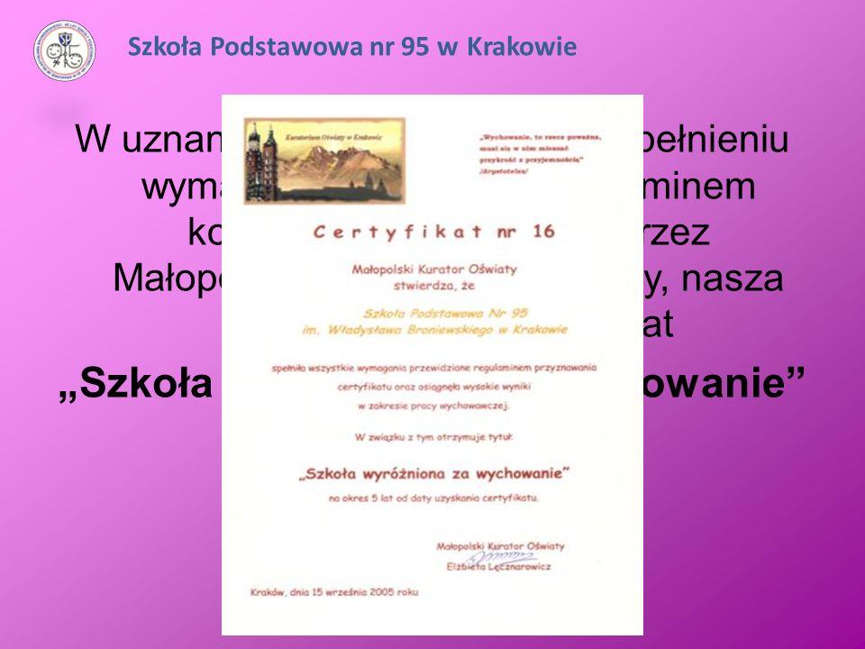W uznaniu naszych działań, po spełnieniu wymagań określonych regulaminem konkursu prowadzonego przez Małopolskiego Kuratora Oświaty, nasza Szkoła uzys