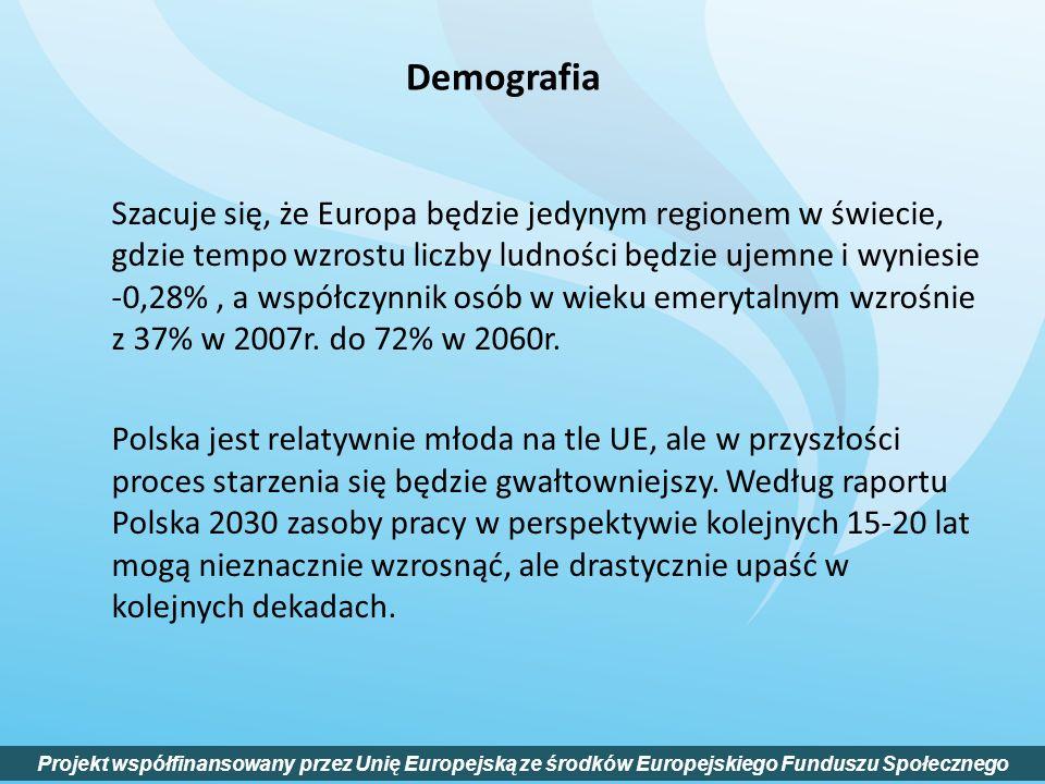 Szacuje się, że Europa będzie jedynym regionem w świecie, gdzie tempo wzrostu liczby ludności będzie ujemne i wyniesie -0,28%, a współczynnik osób w w