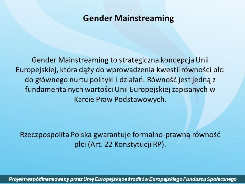 Gender Mainstreaming to strategiczna koncepcja Unii Europejskiej, która dąży do wprowadzenia kwestii równości płci do głównego nurtu polityki i działa
