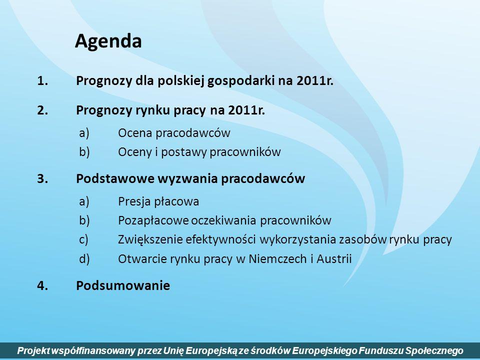 1.Prognozy dla polskiej gospodarki na 2011r. 2.Prognozy rynku pracy na 2011r. a)Ocena pracodawców b)Oceny i postawy pracowników 3.Podstawowe wyzwania
